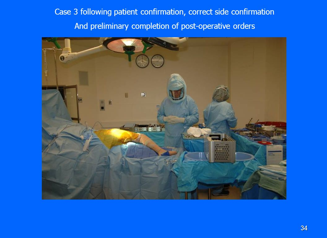 34 Case 3 following patient confirmation, correct side confirmation And preliminary completion of post-operative orders