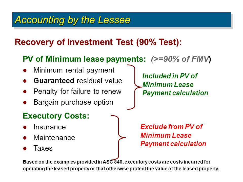 Recovery of Investment Test (90% Test): Accounting by the Lessee PV of Minimum lease payments: (>=90% of FMV) Minimum rental payment Guaranteed residu