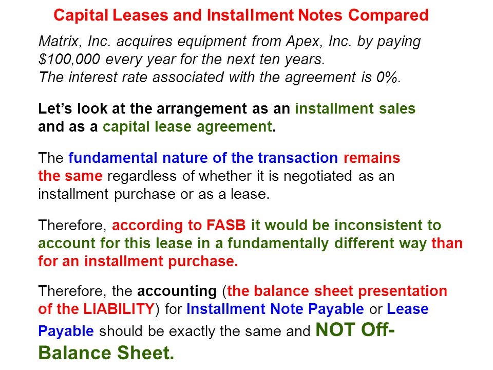 Classification Criteria (Lessee)  Ownership to the lessee at the end of the lease term, or...