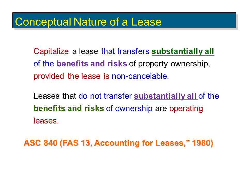 Sales-Type Leases Lease Classification 1.The lease term (6-years) is equal to 100% of the useful life of the copier, and 2.Fair market value is different from cost of the leased asset.
