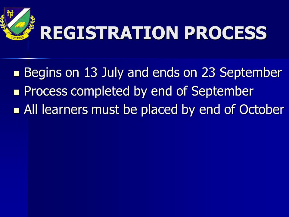 REGISTRATION PROCESS Begins on 13 July and ends on 23 September Begins on 13 July and ends on 23 September Process completed by end of September Proce
