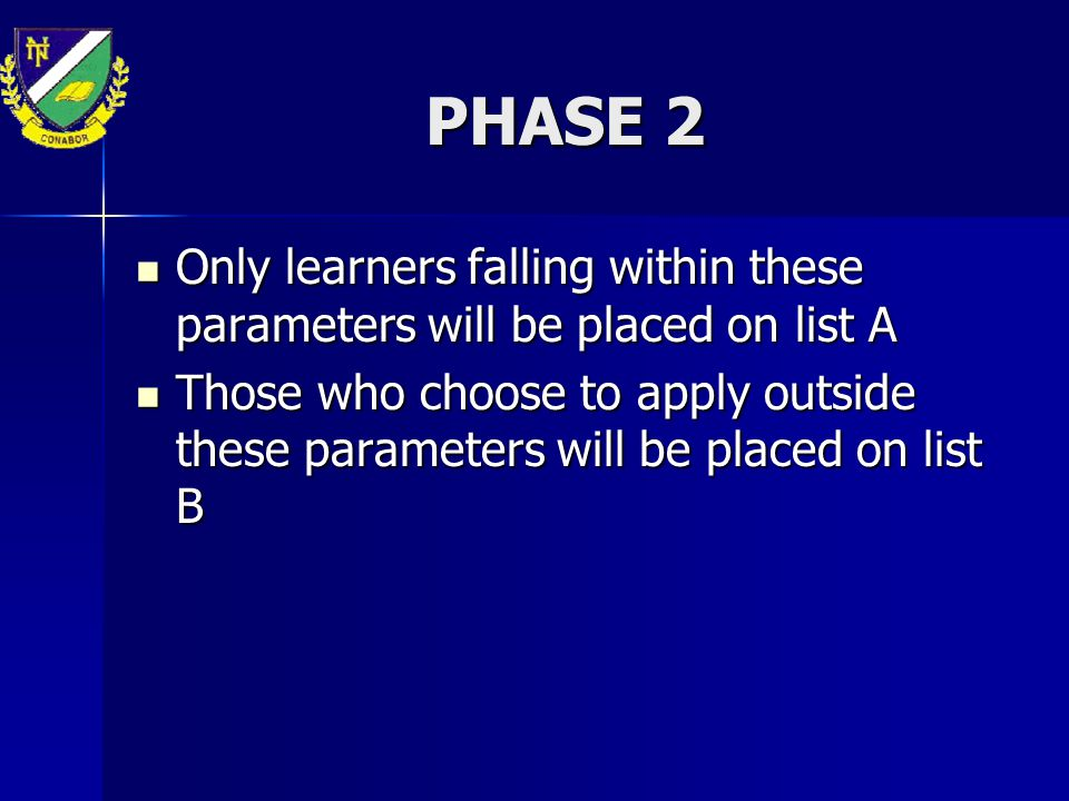 PHASE 2 Only learners falling within these parameters will be placed on list A Only learners falling within these parameters will be placed on list A