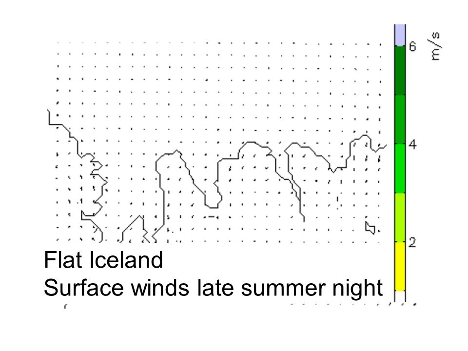 Flat Iceland Surface winds late summer night