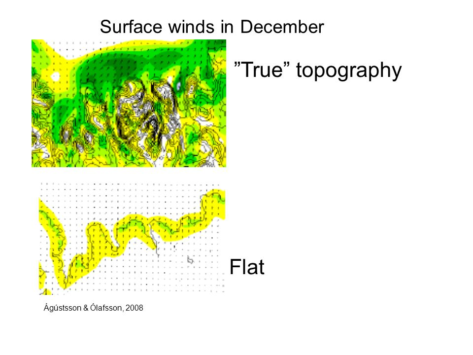 Surface winds in December Flat True topography Ágústsson & Ólafsson, 2008
