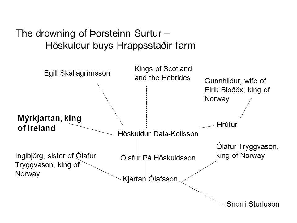 The drowning of Þorsteinn Surtur – Höskuldur buys Hrappsstaðir farm Höskuldur Dala-Kollsson Mýrkjartan, king of Ireland Ólafur Pá Höskuldsson Ólafur T