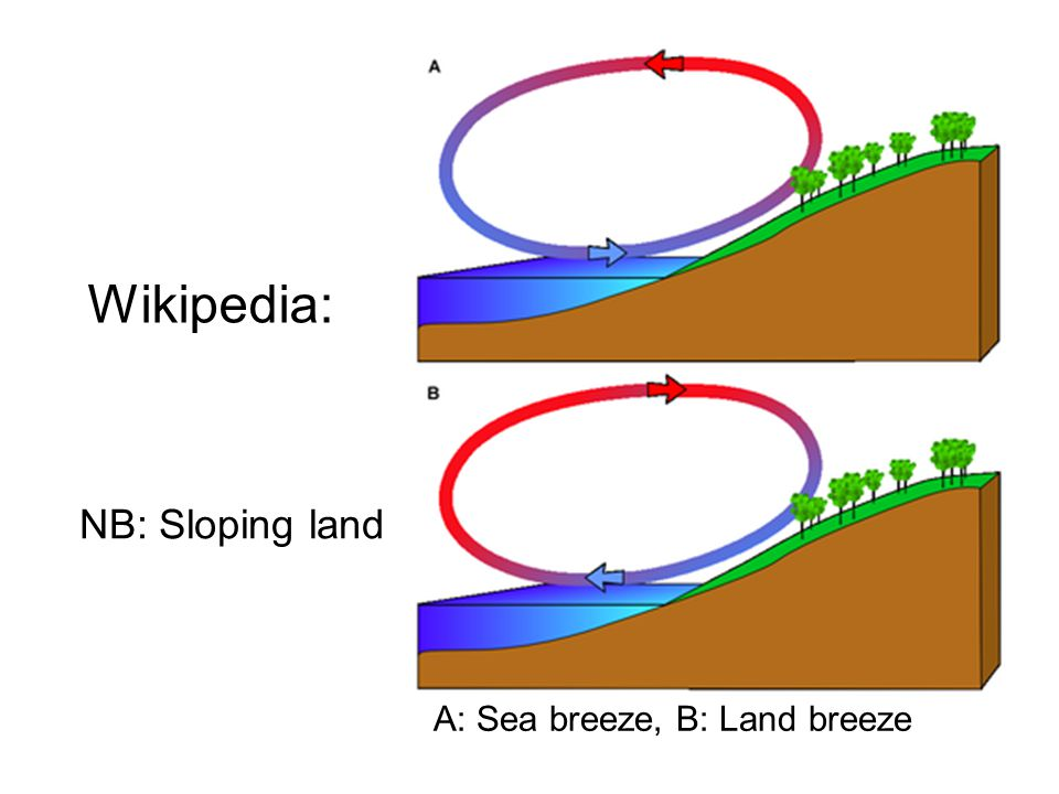 A: Sea breeze, B: Land breeze Wikipedia: NB: Sloping land