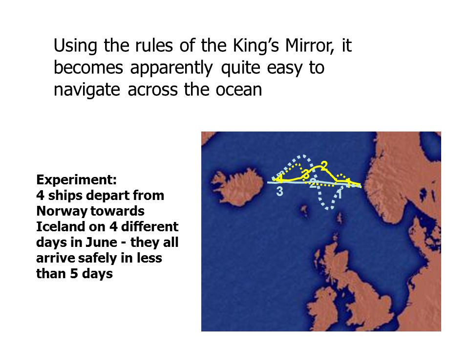 1 3 2 4 1 3 2 Using the rules of the King's Mirror, it becomes apparently quite easy to navigate across the ocean Experiment: 4 ships depart from Norway towards Iceland on 4 different days in June - they all arrive safely in less than 5 days
