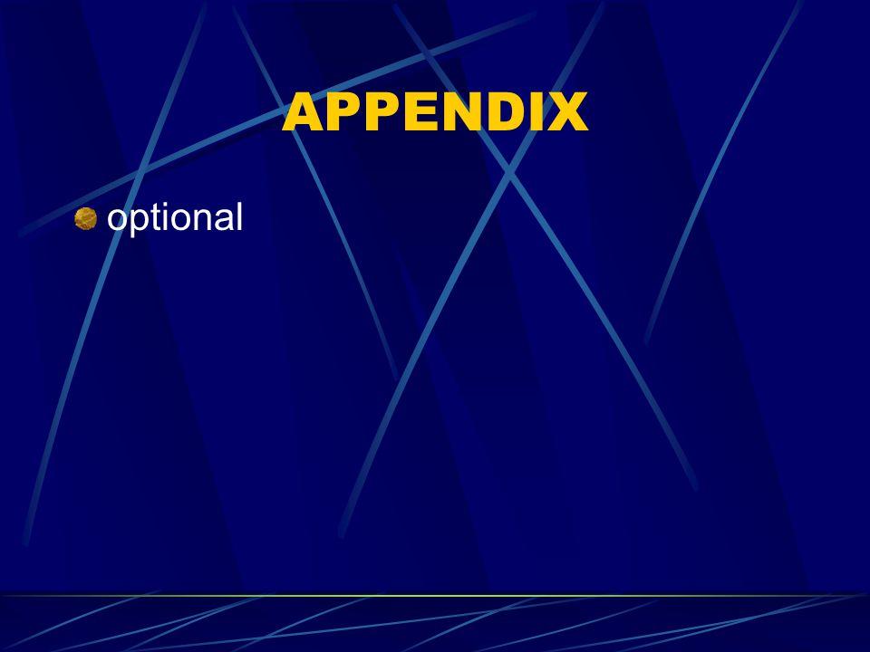 APPENDIX optional