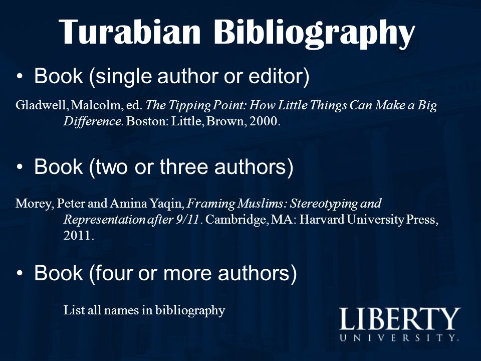 Turabian Bibliography Book (single author or editor) Gladwell, Malcolm, ed. The Tipping Point: How Little Things Can Make a Big Difference. Boston: Li
