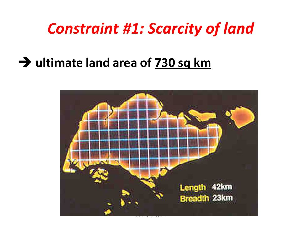 L Chin (c) 2012 Constraint #1: Scarcity of land  ultimate land area of 730 sq km