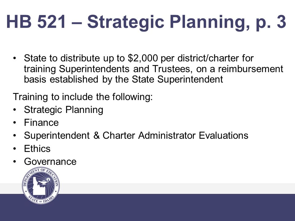 HB 521 – Strategic Planning, p.