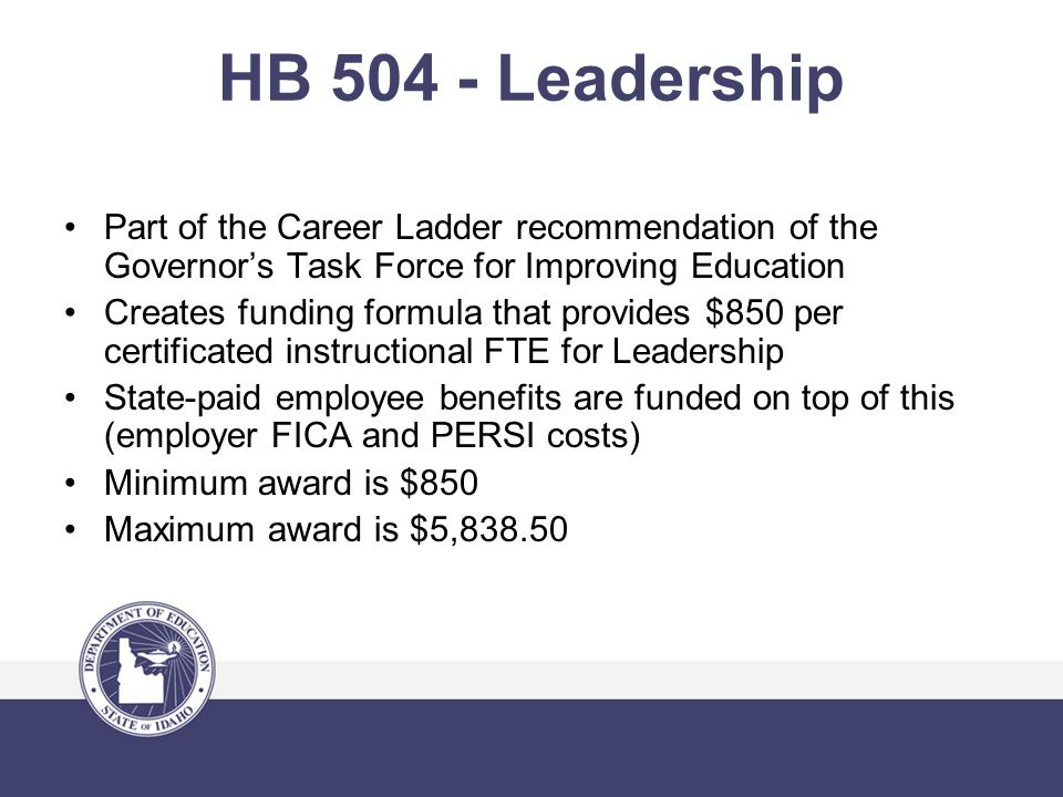HB 504 - Leadership Part of the Career Ladder recommendation of the Governor's Task Force for Improving Education Creates funding formula that provides $850 per certificated instructional FTE for Leadership State-paid employee benefits are funded on top of this (employer FICA and PERSI costs) Minimum award is $850 Maximum award is $5,838.50