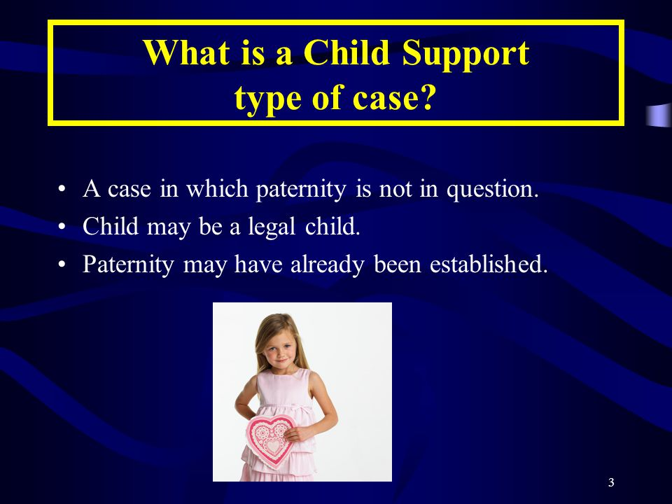 3 What is a Child Support type of case.A case in which paternity is not in question.