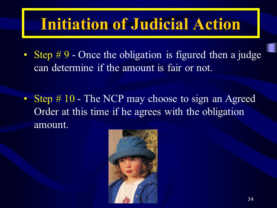 34 Initiation of Judicial Action Step # 9 - Once the obligation is figured then a judge can determine if the amount is fair or not.