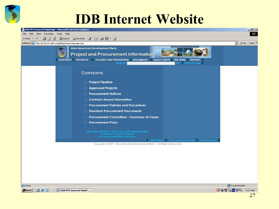 27 IDB Internet Website
