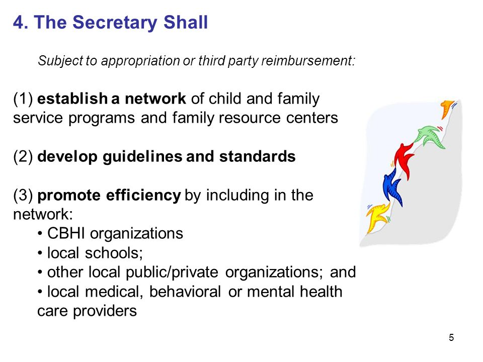 5 4. The Secretary Shall Subject to appropriation or third party reimbursement: (1) establish a network of child and family service programs and famil