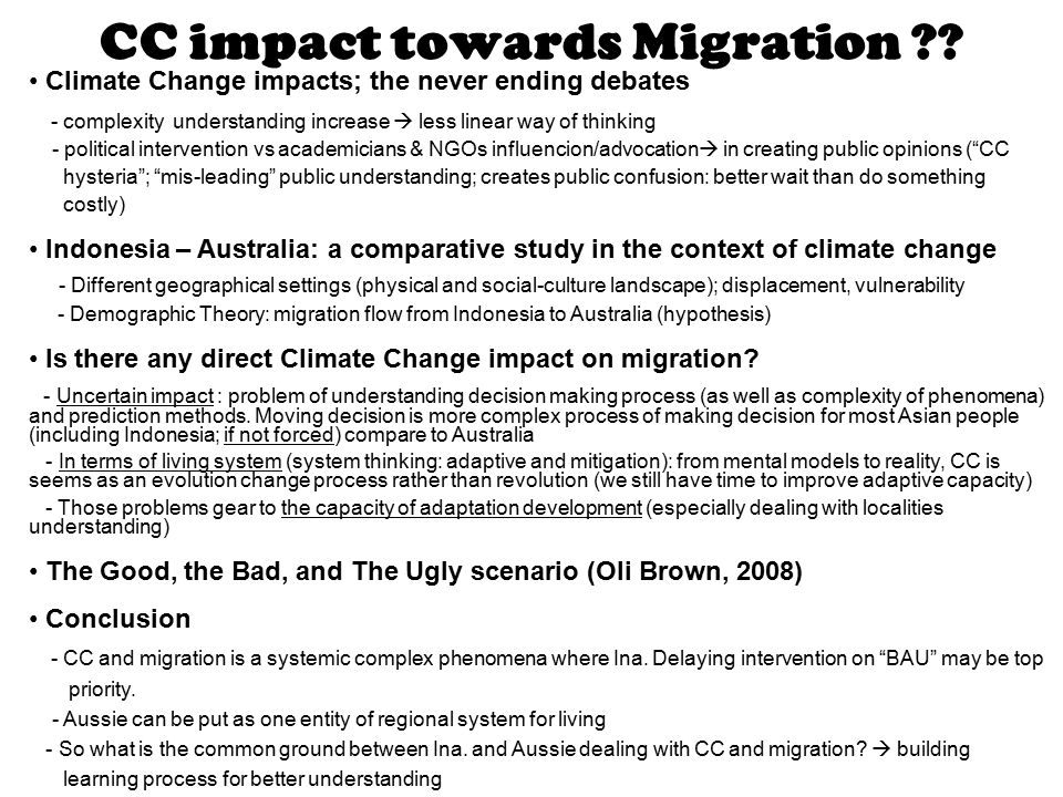 CC impact towards Migration .