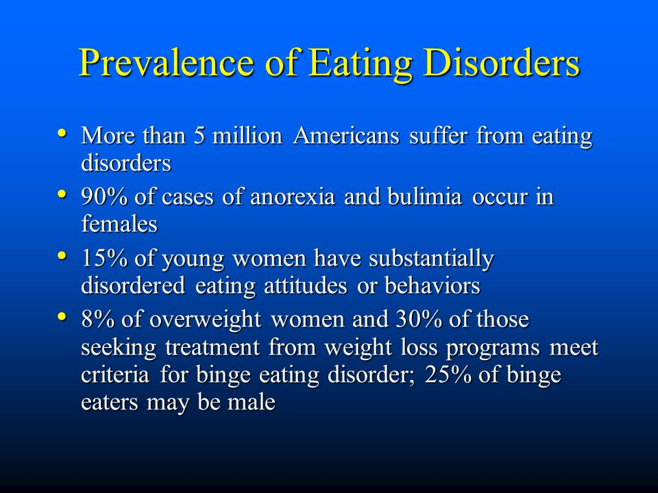 Prevalence of Eating Disorders More than 5 million Americans suffer from eating disorders More than 5 million Americans suffer from eating disorders 9