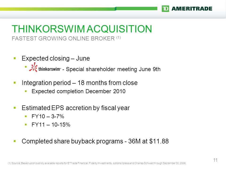 11 THINKORSWIM ACQUISITION FASTEST GROWING ONLINE BROKER (1)  Expected closing – June  -  Integration period – 18 months from close  Expected completion December 2010  Estimated EPS accretion by fiscal year  FY10 – 3-7%  FY11 – 10-15%  Completed share buyback programs - 36M at $11.88 (1) Source: Based upon publicly available reports for E*Trade Financial, Fidelity Investments, optionsXpress and Charles Schwab through September 30, 2008.