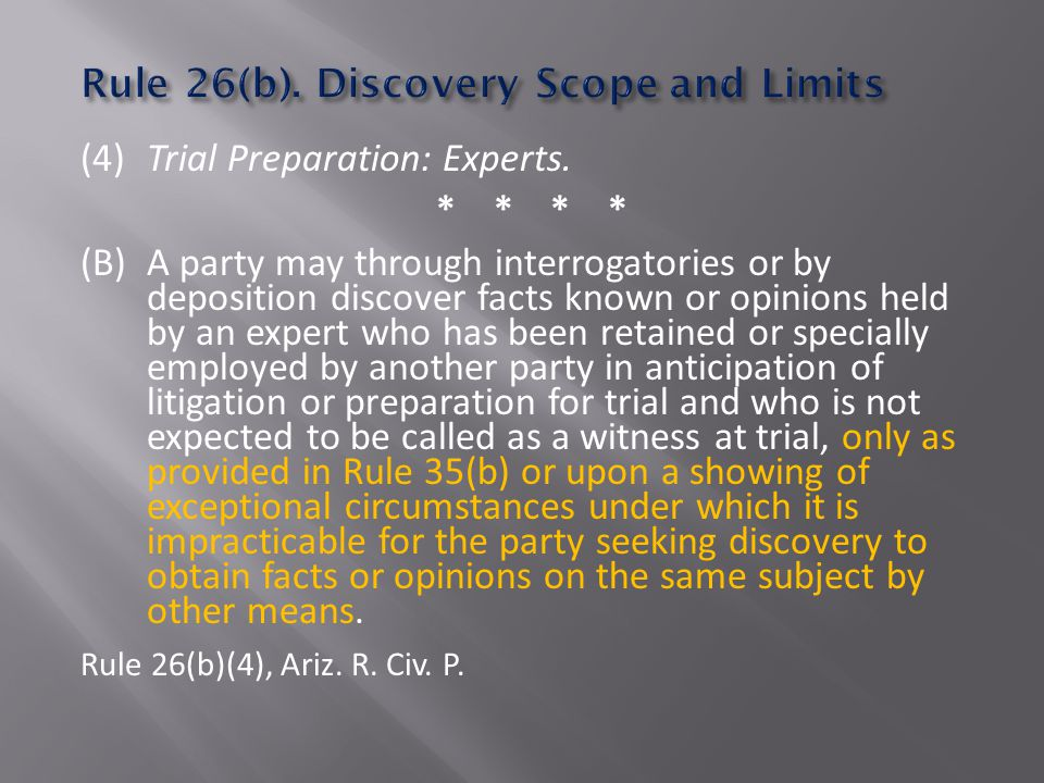 (4) Trial Preparation: Experts.