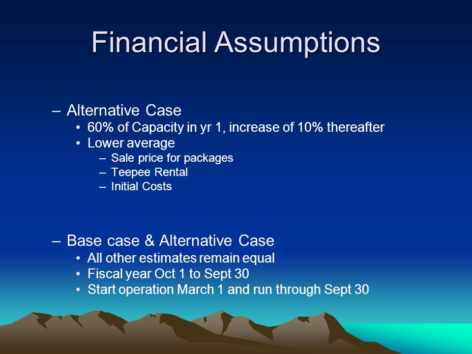 Financial Assumptions –Alternative Case 60% of Capacity in yr 1, increase of 10% thereafter Lower average –Sale price for packages –Teepee Rental –Ini