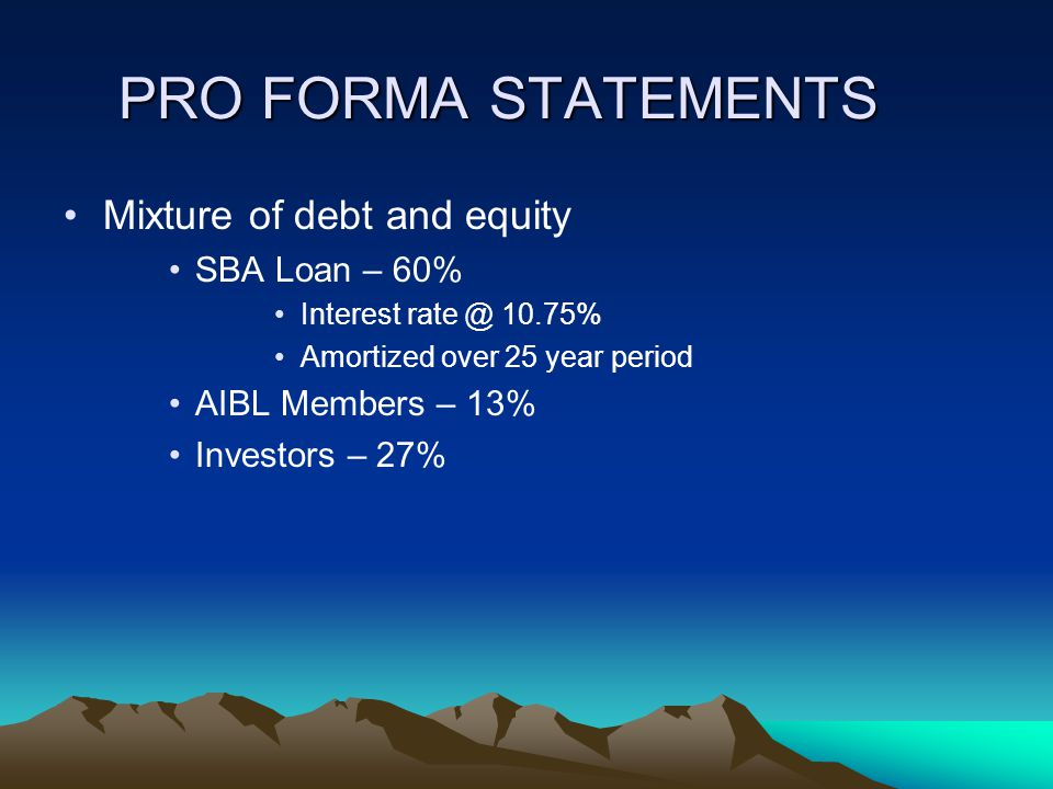 PRO FORMA STATEMENTS Mixture of debt and equity SBA Loan – 60% Interest rate @ 10.75% Amortized over 25 year period AIBL Members – 13% Investors – 27%