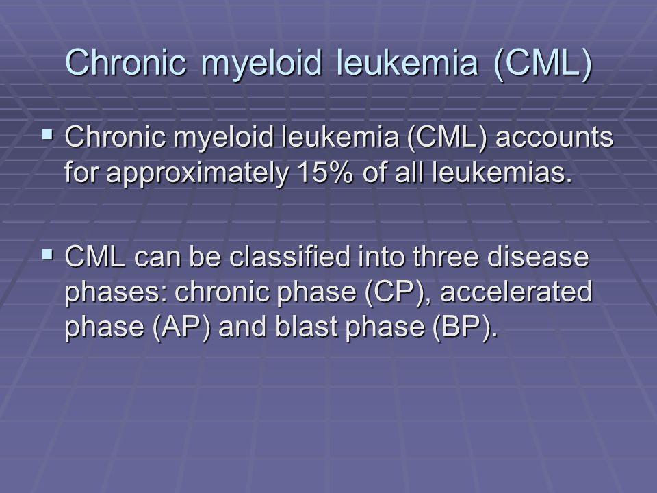 Chronic myeloid leukemia (CML)  Chronic myeloid leukemia (CML) accounts for approximately 15% of all leukemias.  CML can be classified into three di