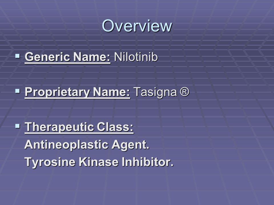 Overview  Generic Name: Nilotinib  Proprietary Name: Tasigna ®  Therapeutic Class: Antineoplastic Agent. Antineoplastic Agent. Tyrosine Kinase Inhi