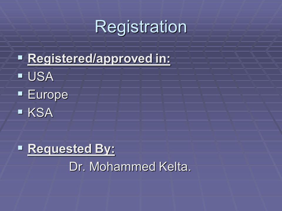 Registration  Registered/approved in:  USA  Europe  KSA  Requested By: Dr. Mohammed Kelta. Dr. Mohammed Kelta.