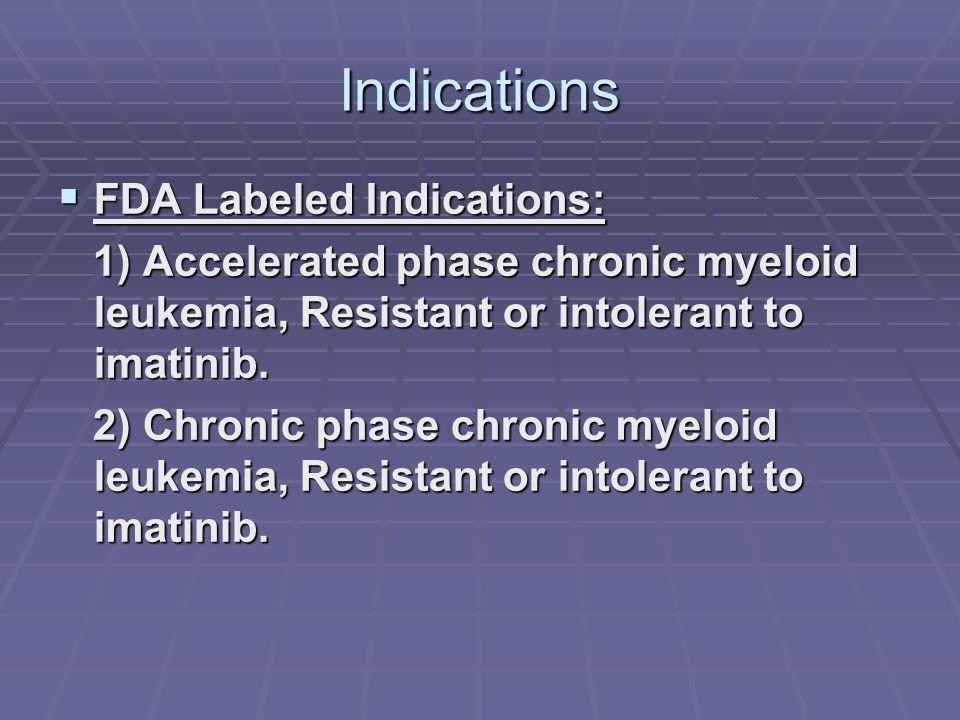 Indications  FDA Labeled Indications: 1) Accelerated phase chronic myeloid leukemia, Resistant or intolerant to imatinib. 1) Accelerated phase chroni