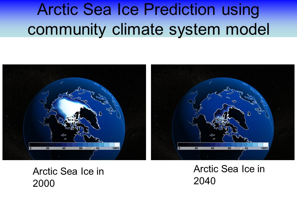Arctic Sea Ice Prediction using community climate system model Arctic Sea Ice in 2040 Arctic Sea Ice in 2000