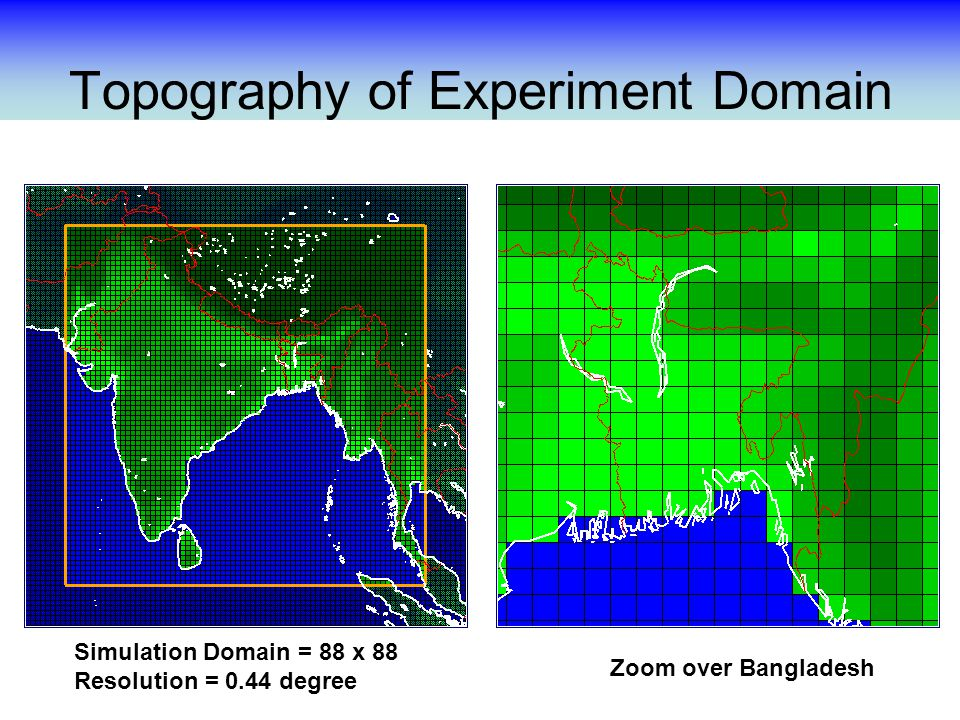Topography of Experiment Domain Zoom over Bangladesh Simulation Domain = 88 x 88 Resolution = 0.44 degree