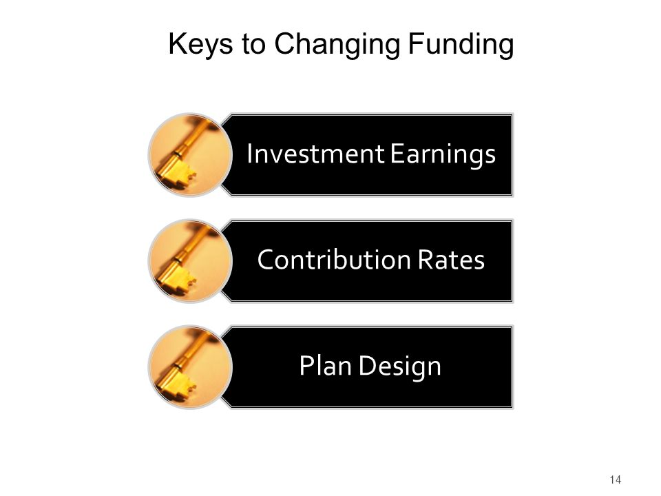 14 Keys to Changing Funding Investment Earnings Contribution Rates Plan Design