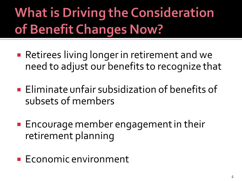 25 Recommended Benefit Changes Age Reduction Factors Actuarially Neutral Eliminate Minimum Benefit Calculation Intersystem Transfers Actuarially Neutral Limit Retroactivity to Within 90 Days of Application Receipt New Hires After Date of Legislation in New Package Age & Benefit Formula COLAFAS Service Assumptions Components
