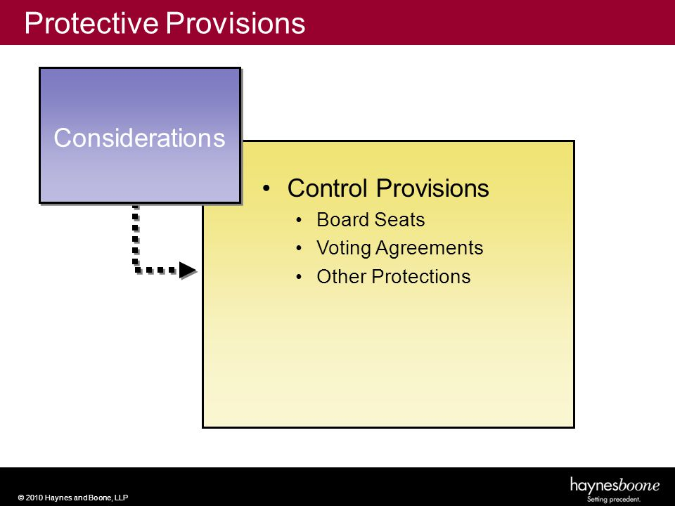 © 2010 Haynes and Boone, LLP Considerations Protective Provisions Control Provisions Board Seats Voting Agreements Other Protections
