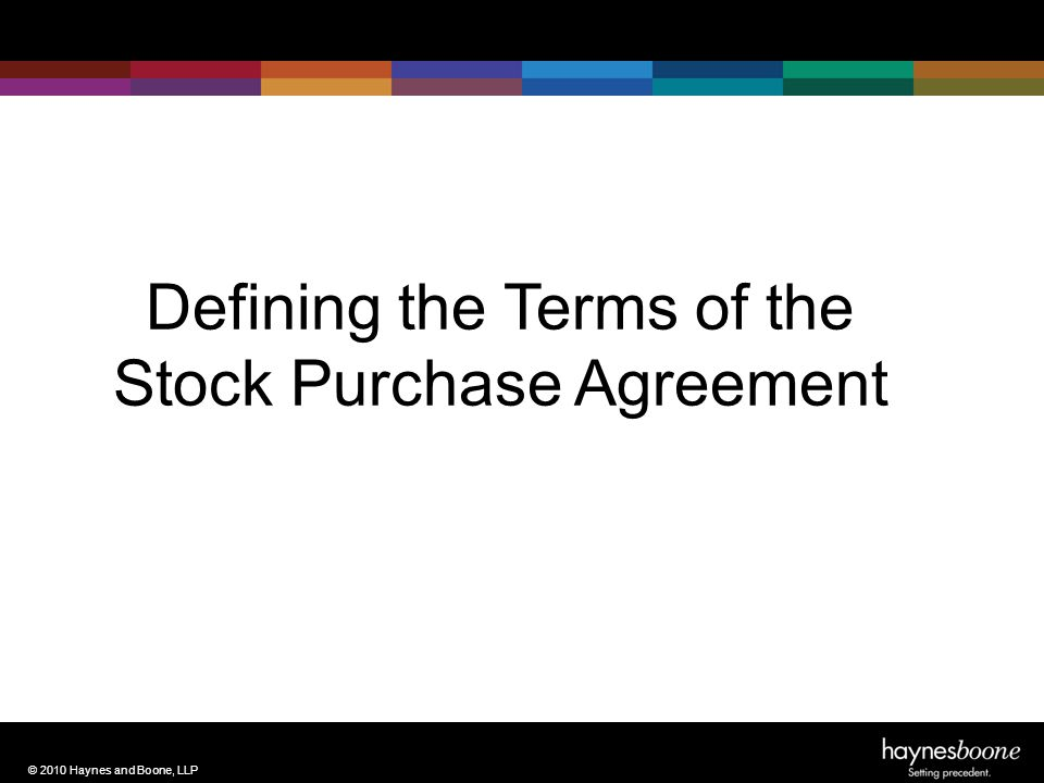 © 2010 Haynes and Boone, LLP Defining the Terms of the Stock Purchase Agreement