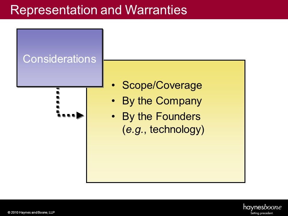 © 2010 Haynes and Boone, LLP Scope/Coverage By the Company By the Founders (e.g., technology) Considerations Representation and Warranties