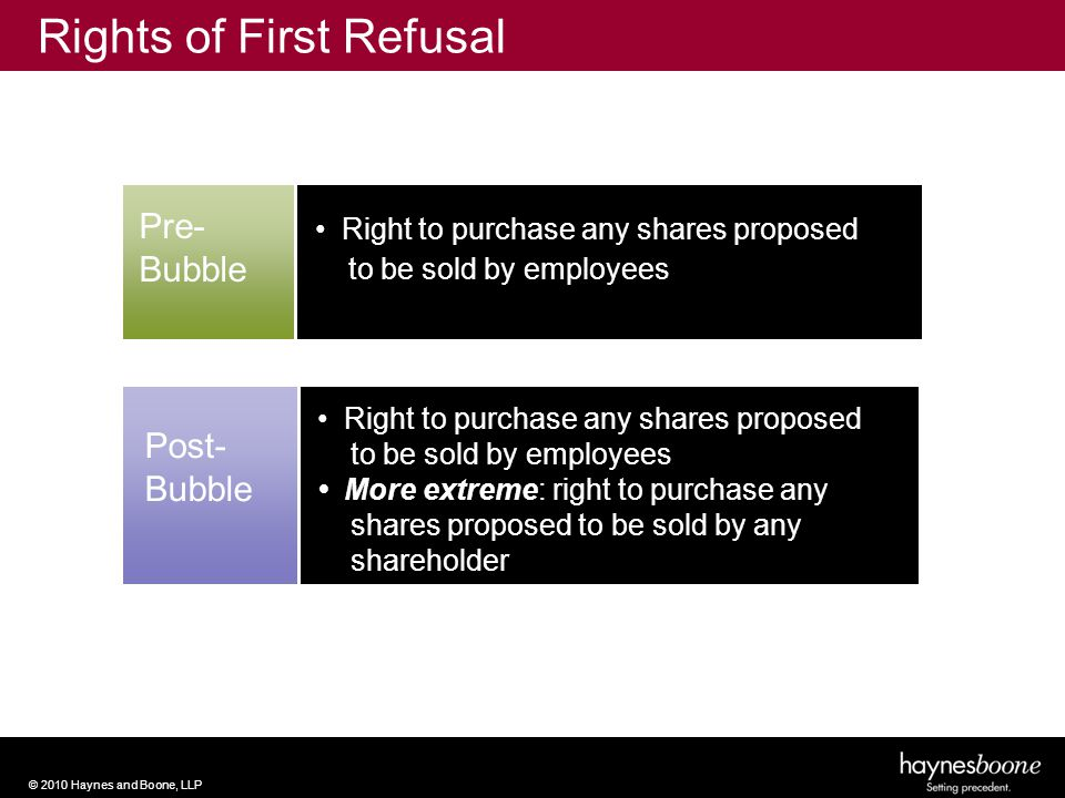 © 2010 Haynes and Boone, LLP Pre- Bubble Right to purchase any shares proposed to be sold by employees Post- Bubble Right to purchase any shares proposed to be sold by employees More extreme: right to purchase any shares proposed to be sold by any shareholder Rights of First Refusal