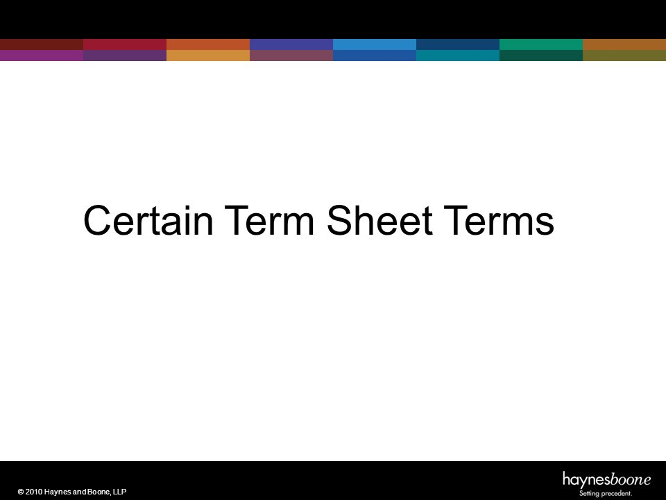 © 2010 Haynes and Boone, LLP Certain Term Sheet Terms