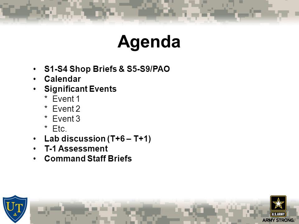 Agenda S1-S4 Shop Briefs & S5-S9/PAO Calendar Significant Events * Event 1 * Event 2 * Event 3 * Etc.