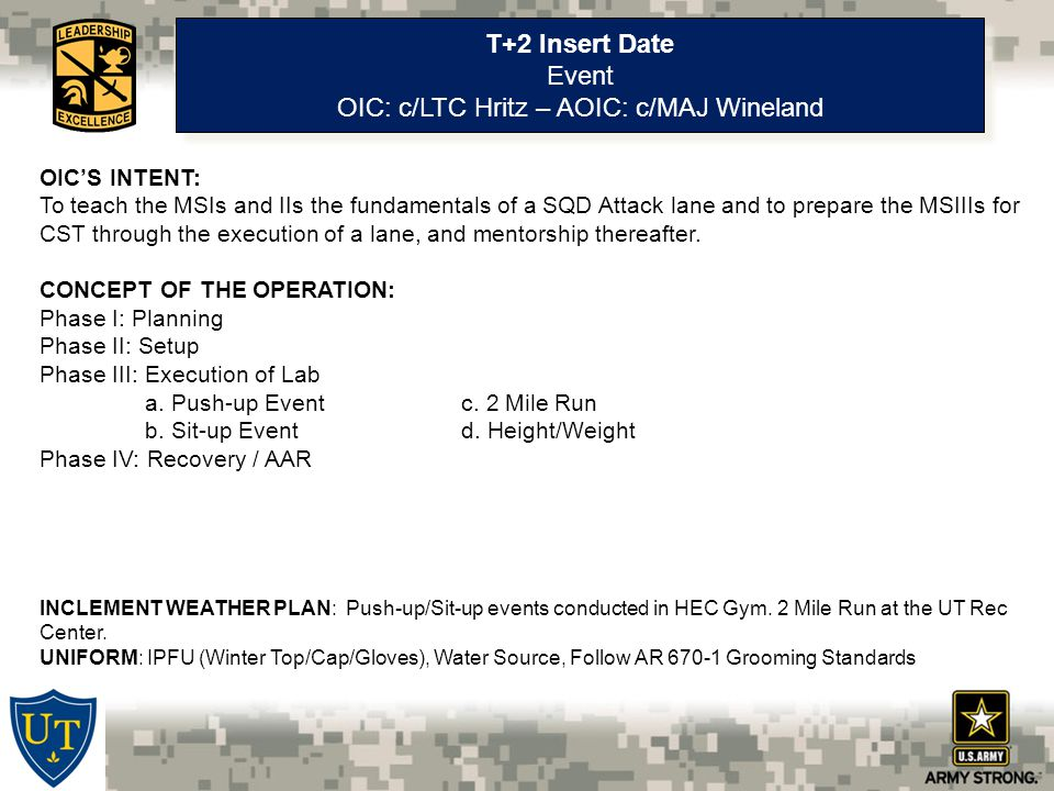T+2 Insert Date Event OIC: c/LTC Hritz – AOIC: c/MAJ Wineland T+2 Insert Date Event OIC: c/LTC Hritz – AOIC: c/MAJ Wineland OIC'S INTENT: To teach the MSIs and IIs the fundamentals of a SQD Attack lane and to prepare the MSIIIs for CST through the execution of a lane, and mentorship thereafter.