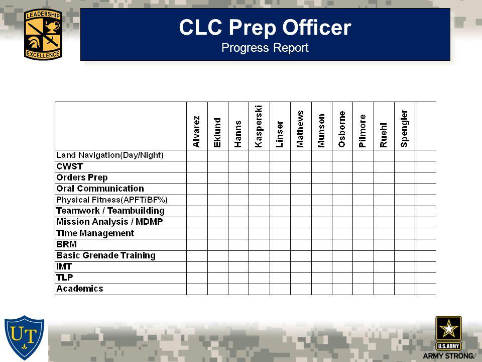 CLC Prep Officer Progress Report CLC Prep Officer Progress Report
