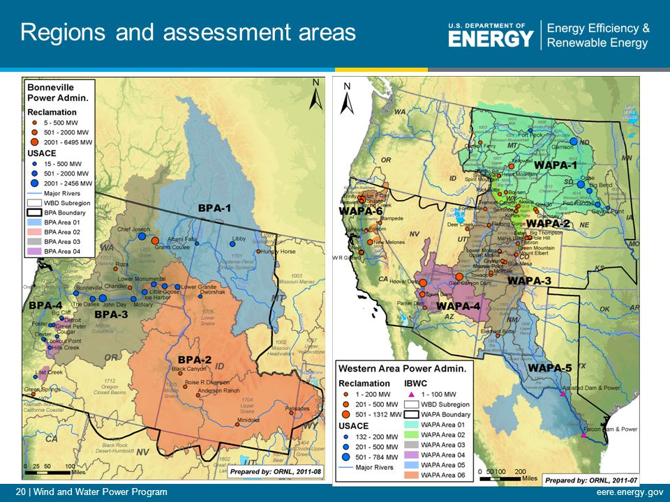 20 | Wind and Water Power Programeere.energy.gov Regions and assessment areas