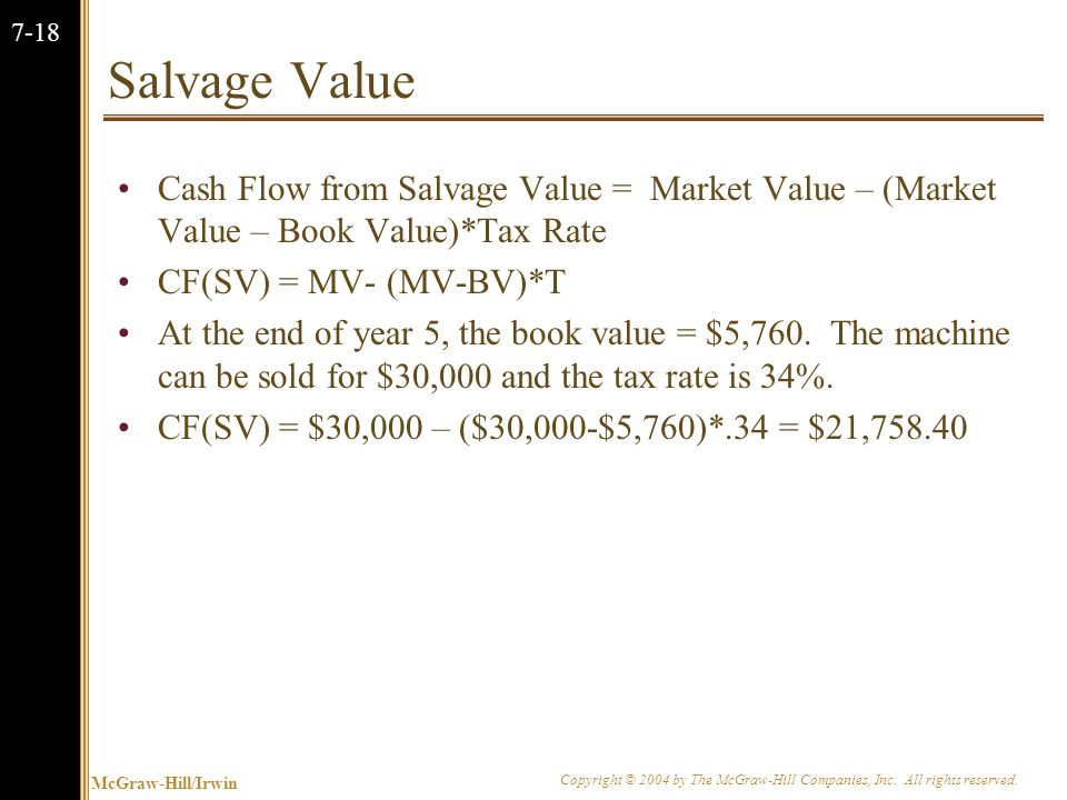 McGraw-Hill/Irwin Copyright © 2004 by The McGraw-Hill Companies, Inc. All rights reserved. 7-18 Salvage Value Cash Flow from Salvage Value = Market Va