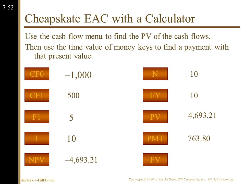 McGraw-Hill/Irwin Copyright © 2004 by The McGraw-Hill Companies, Inc. All rights reserved. 7-52 Cheapskate EAC with a Calculator Use the cash flow men