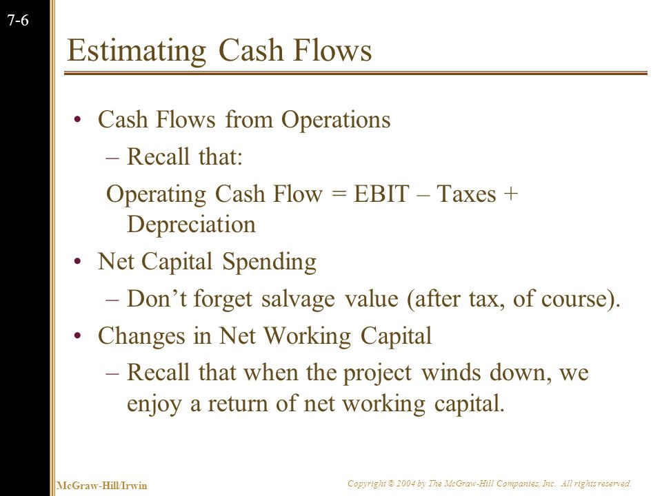 McGraw-Hill/Irwin Copyright © 2004 by The McGraw-Hill Companies, Inc. All rights reserved. 7-6 Estimating Cash Flows Cash Flows from Operations –Recal