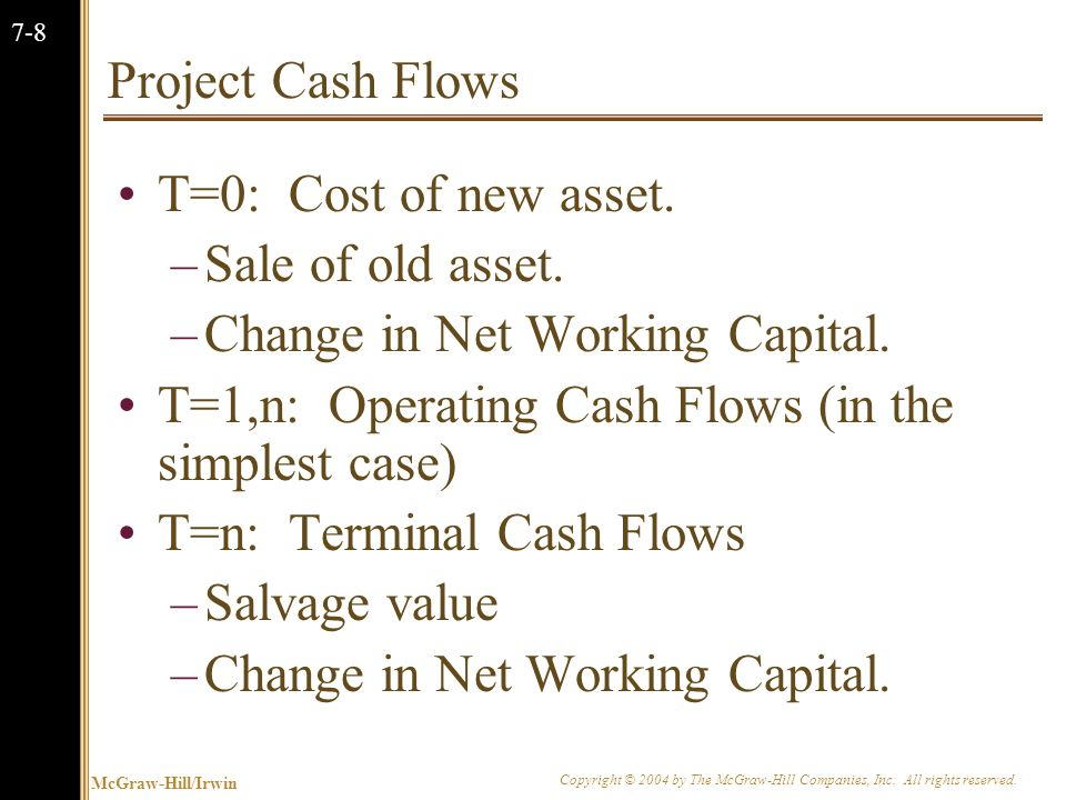 McGraw-Hill/Irwin Copyright © 2004 by The McGraw-Hill Companies, Inc. All rights reserved. 7-8 Project Cash Flows T=0: Cost of new asset. –Sale of old
