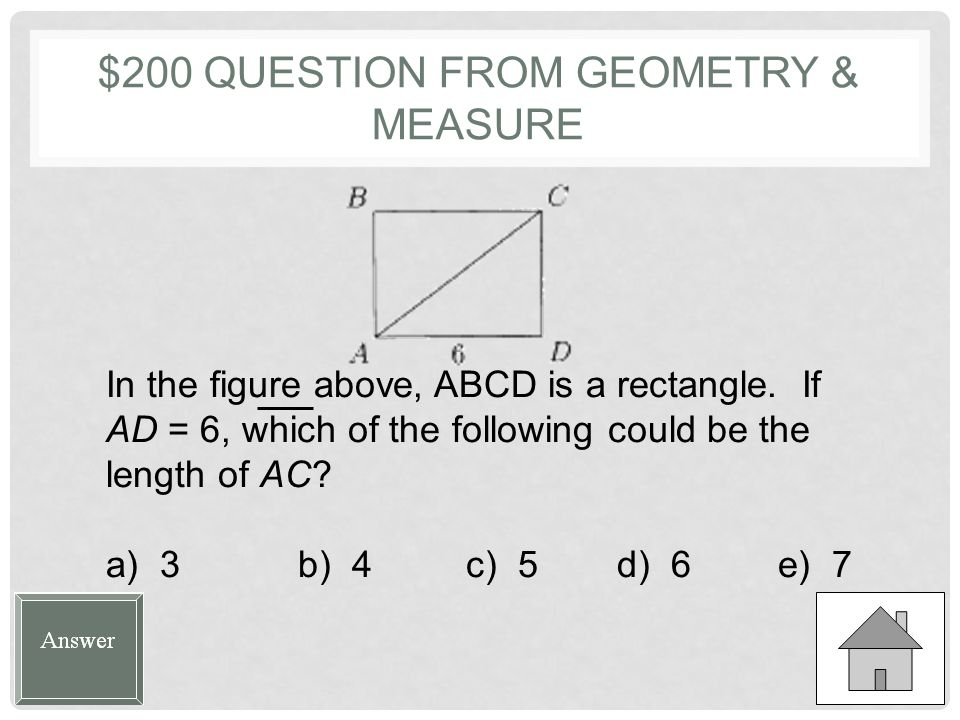 $100 ANSWER FROM GEOMETRY & MEASURE A