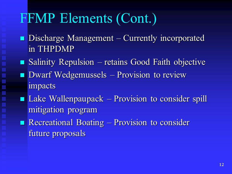 12 FFMP Elements (Cont.) Discharge Management – Currently incorporated in THPDMP Discharge Management – Currently incorporated in THPDMP Salinity Repu