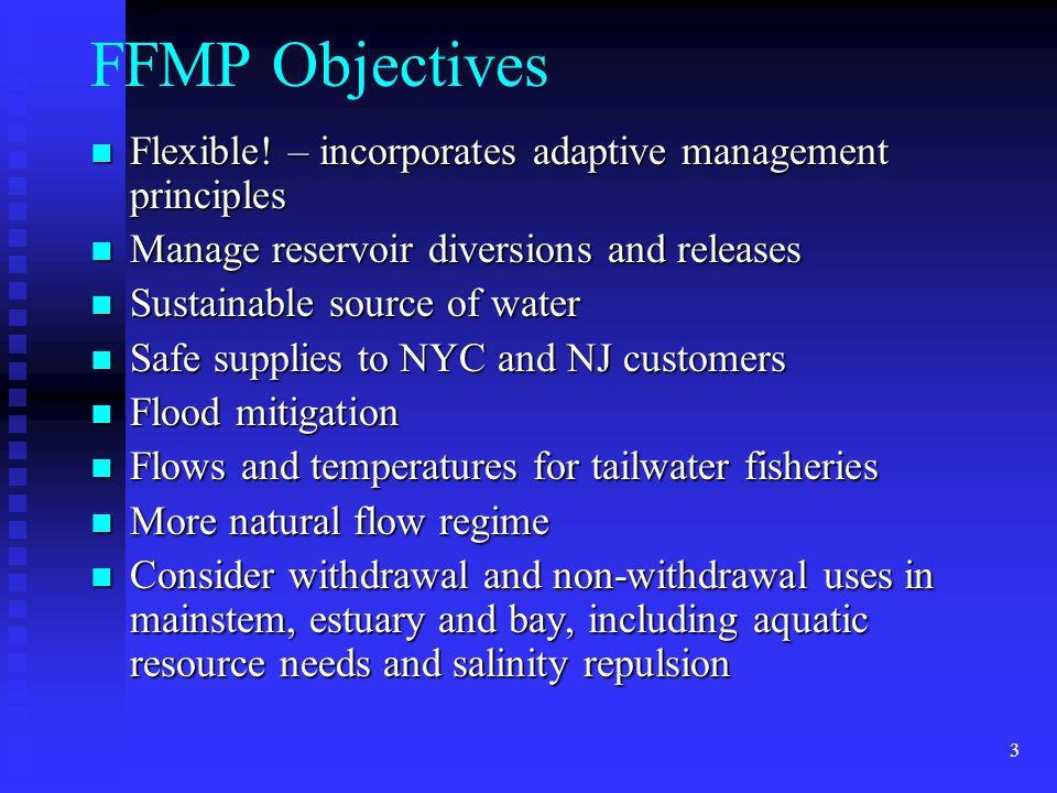 3 FFMP Objectives Flexible. – incorporates adaptive management principles Flexible.